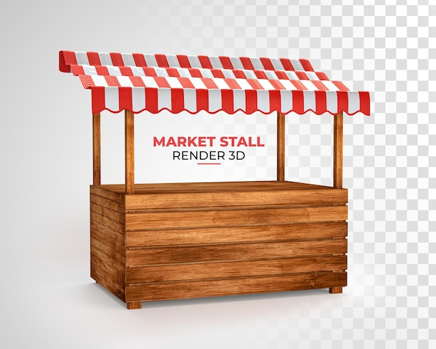 Ilustração realista de uma barraca de mercado vazia com renderização listrada de vermelho e branco