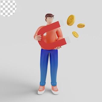 Ilustrações 3d. atraindo o conceito de investimentos. dinheiro, sucesso empresarial, dólar, ímã