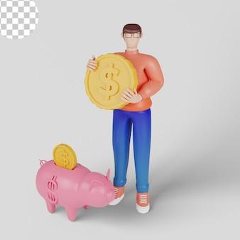 Ilustrações 3d conceito de armazenamento seguro de dinheiro