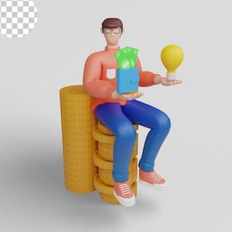 Ilustrações 3d. conceito de homem de negócios usando ideias para ganhar dinheiro