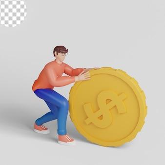 Ilustrações 3d. conceito dinheiro coletar e economizar