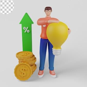 Ilustrações 3d. conceitos de análise de investimento, retorno do investimento, crescimento do investimento. psd premium