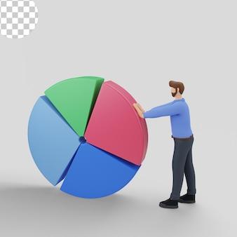 Ilustrações 3d de análise de marketing