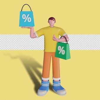 Ilustrações 3d de pessoas felizes fazendo compras na loja