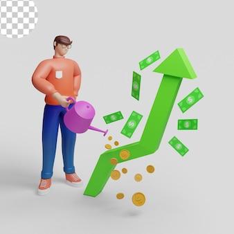 Ilustrações 3d. ilustração investimento e crescimento financeiro