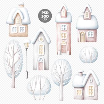 Ilustrações de casas e árvores de inverno