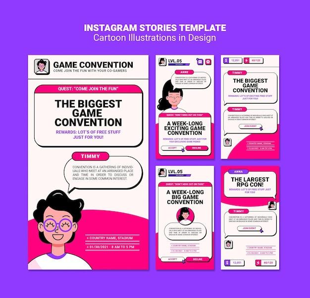 Ilustrações de desenhos animados histórias do instagram