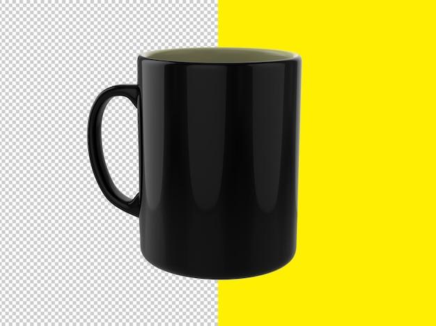 Imagem aproximada de renderização de caneca preta isolada