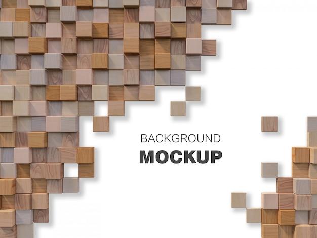 Imagem de renderização 3d da parede de madeira cúbica