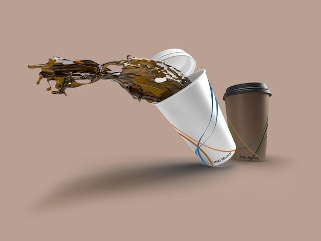 Imagem de renderização 3d de canecas de café derramadas. rótulo de maquete na camada de objeto inteligente.