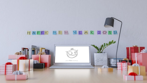 Imagem de renderização 3d de mesa de trabalho em novo yera 2019 dia