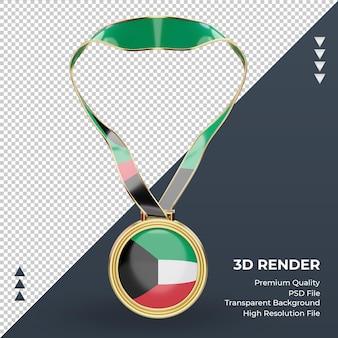 Imagem frontal renderizando a bandeira do kuwait com medalha 3d