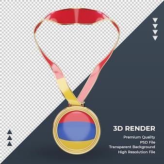 Imagem frontal renderizando medalha 3d da bandeira da armênia