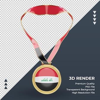 Imagem frontal renderizando medalha 3d da bandeira do iraque