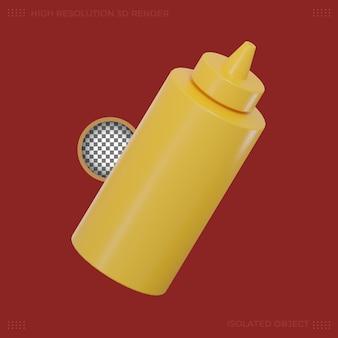 Imagem premium de ícone de comida de garrafa de molho de renderização 3d
