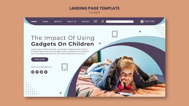 Impacto do gadget na página de destino infantil