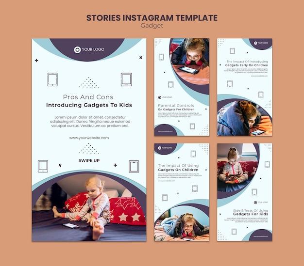 Impacto do gadget nas histórias infantis do instagram