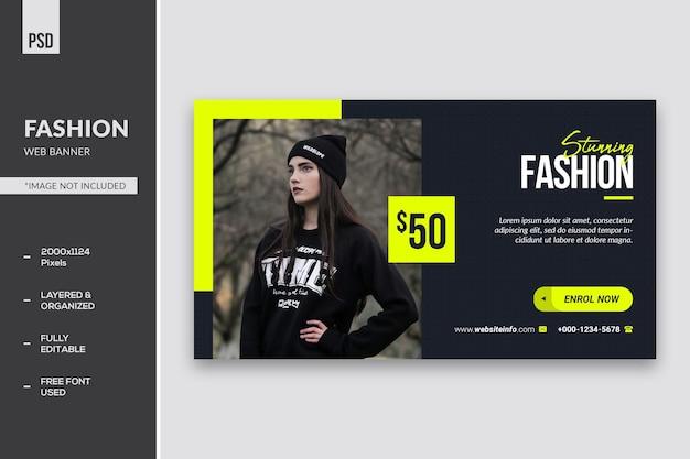Impressionante banner e página de destino da web de moda