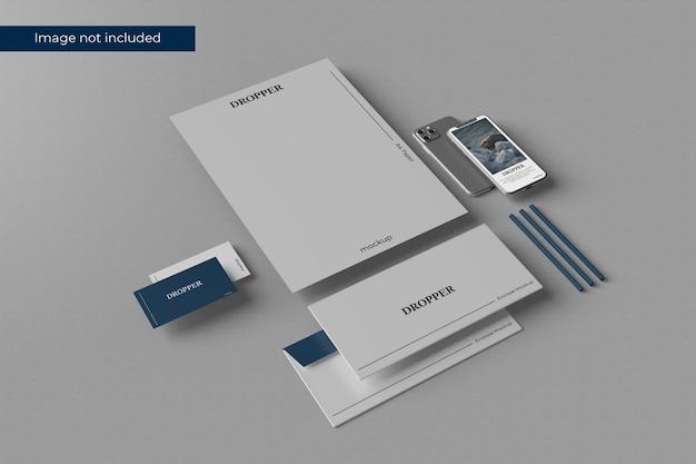 Impressionante design de maquete de papelaria em renderização 3d