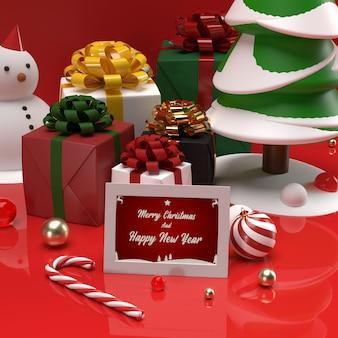 Impresso maquete de cartão de presente de mesa de convite de celebração de natal e ano novo