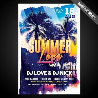 Imprimir pronto flyer de amor de verão cmyk / poster com objetos editáveis