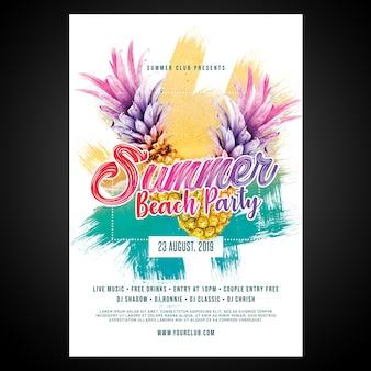 Imprimir pronto flyer de festa de praia de verão cmyk / poster com objetos editáveis