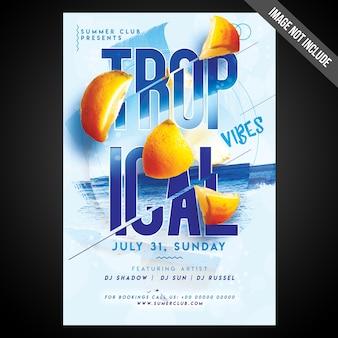 Imprimir pronto flyer de impressões tropicais de cmyk / poster com objetos editáveis