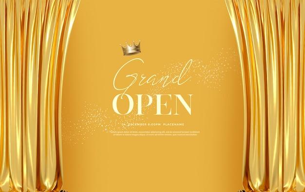 Inauguração: modelo de texto com cortinas de veludo de seda dourada de luxo.