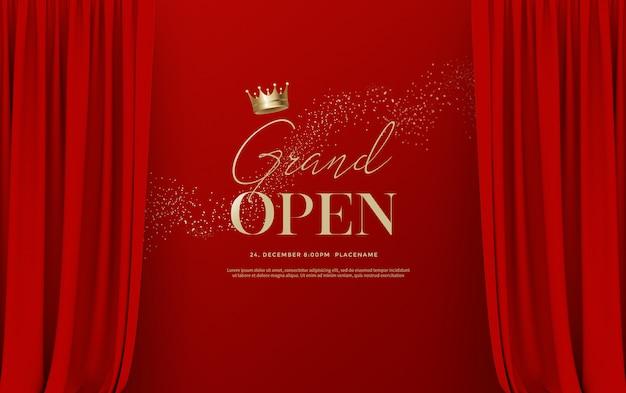 Inauguração: modelo de texto com ilustração de cortinas de veludo de seda vermelha de luxo