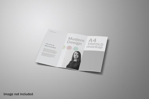 Inclinar a exibição da maquete do folheto com três dobras