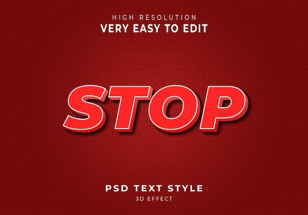 Incrível estilo de texto stop 3d