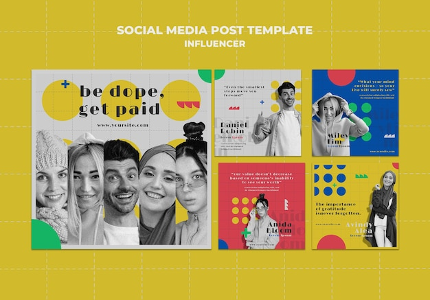 Influenciador de postagens coloridas de mídia social