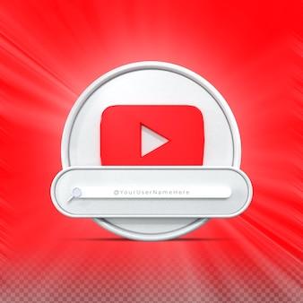Inscreva-me na mídia social do youtube perfil do ícone do banner renderização em 3d no terço inferior