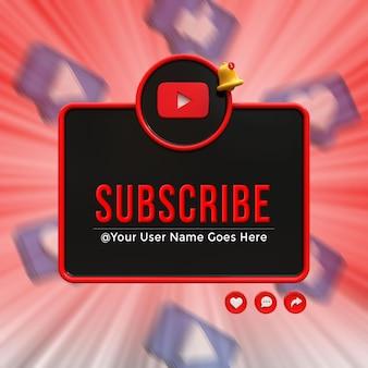 Inscreva-se na mídia social do youtube emblema de ícone de renderização de design 3d no terço inferior