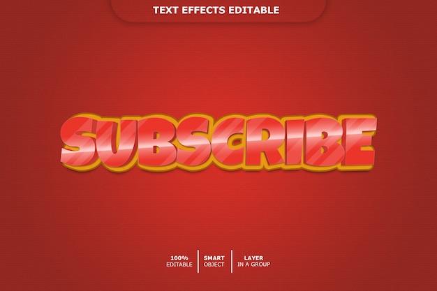 Inscrever-se efeito de estilo de texto 3d