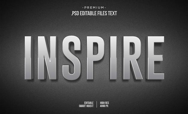 Inspire efeito de texto 3d modelo de efeito de texto 3d de metal cromado