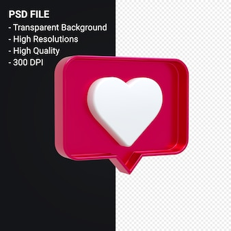 Instagram como ícone 3d ou notificações de emoji de amor do facebook renderização em 3d isolada