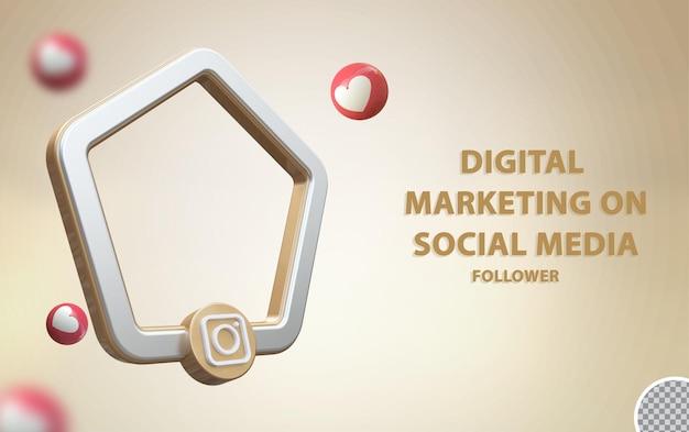 Instagram de mídia social 3d com maquete de quadro