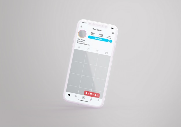 Instagram de mídia social no modelo de telefone móvel
