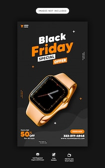 Instagram de oferta especial de black friday e modelo de banner de história do facebook