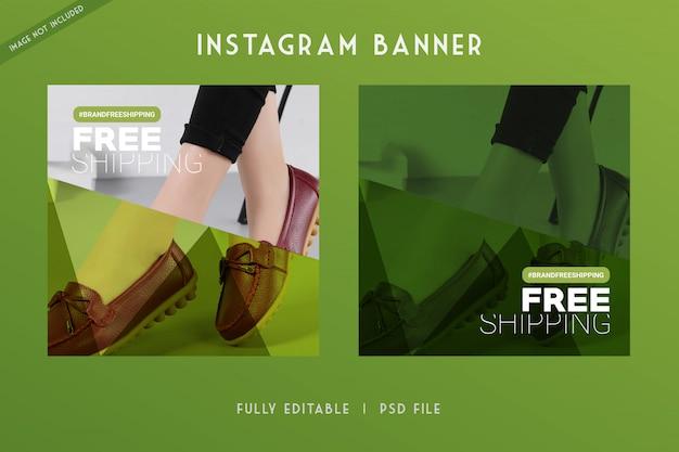 Instagram de venda de sapatos e mídia social modelo de banner estilo techno