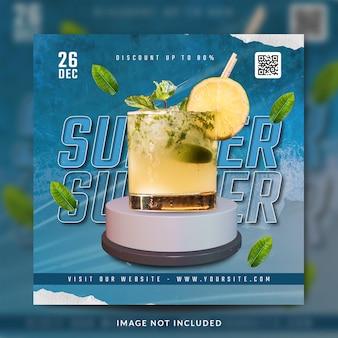 Instagram do menu de bebidas de verão e modelo de postagem nas redes sociais