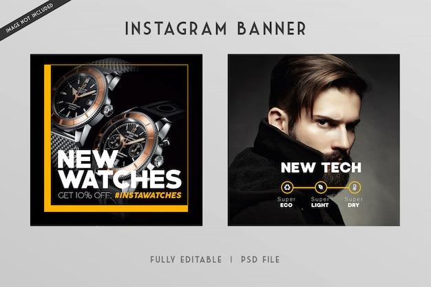 Instagram e banner de estilo de mídia social techno