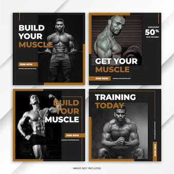 Instagram feed post fitness sport template