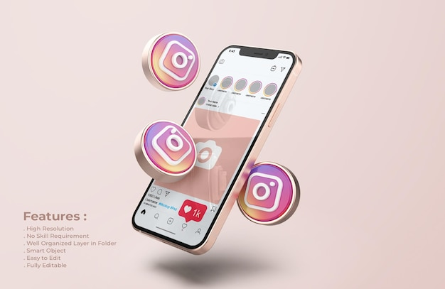Instagram no modelo do celular rose gold