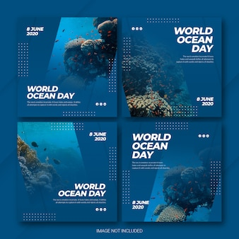 Instagram post bundle dia mundial dos oceanos