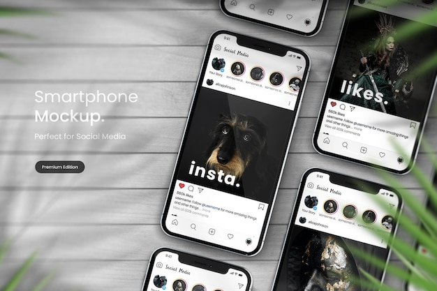 Instagram post mockup em smartphone mockup