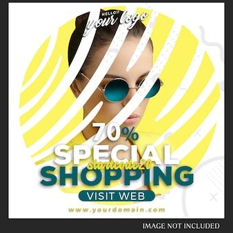 Instagram post modelo para vendas, compras, loja, campanha, conceito de coleção