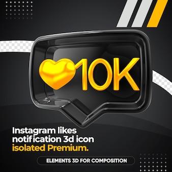 Instagram preto gosta de ícone de notificação à direita isolado