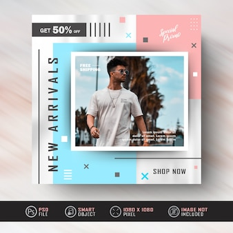 Instagram social media post banner para venda de moda